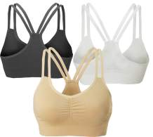 AKAMC Women's Removable Padded Strappy Sports Bra Yoga Tops Activewear for Women 3 Pack