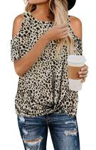 ETCYY Women's Cold Shoulder Tops Summer Leopard Short Sleeve Knot Twist Front T-Shirt Tunics(S-XXL)