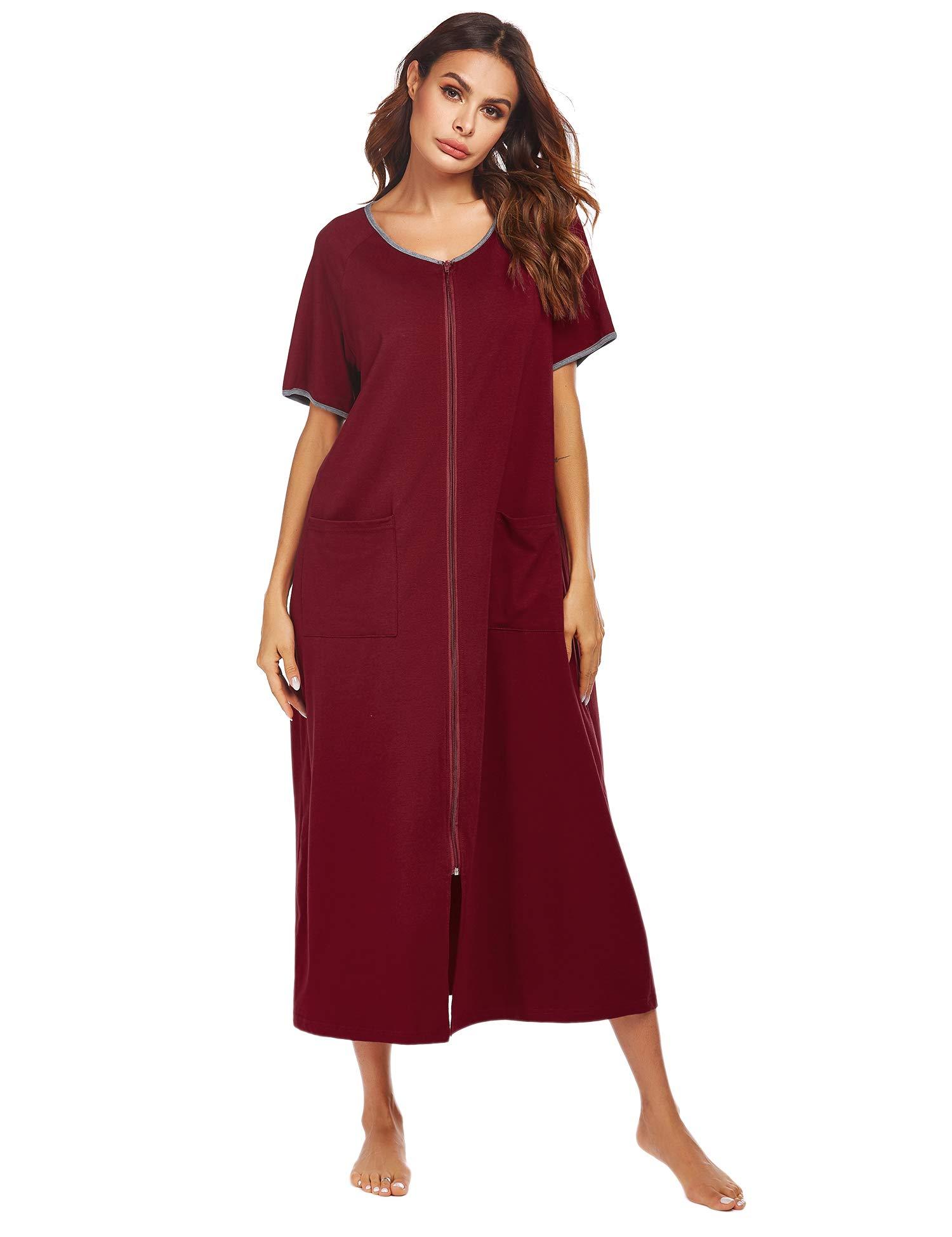 Ekouaer Women Robes Zipper Front Short Sleeve Full Length Housecoat with Pockets Loungewear