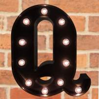 Pooqla Decorative LED Illuminated Letter Marquee Sign - Alphabet Marquee Letters with Lights for Wedding Birthday Party Christmas Night Light Lamp Home Bar Decoration Q, Black