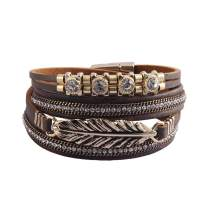 Jeilwiy Feather Leather Cuff Bracelet for Women Wrap Bracelet Bohemian Jewelry Gifts for Girls Wife, Sister