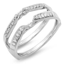 Dazzlingrock Collection 0.23 Carat (ctw) 14k Round Diamond Ladies Anniversary Wedding Band Guard Double Ring 1/4 CT, White Gold