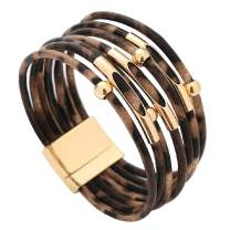 Hottime Leopard Bracelet for Women Teen Girls Boho Multilayer Leather Wrap Bangle Jewelry Birthday Gift
