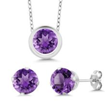 Gem Stone King Sterling Silver Round 6mm Pendant Earrings Set with 18 inches Sterling Silver Chain
