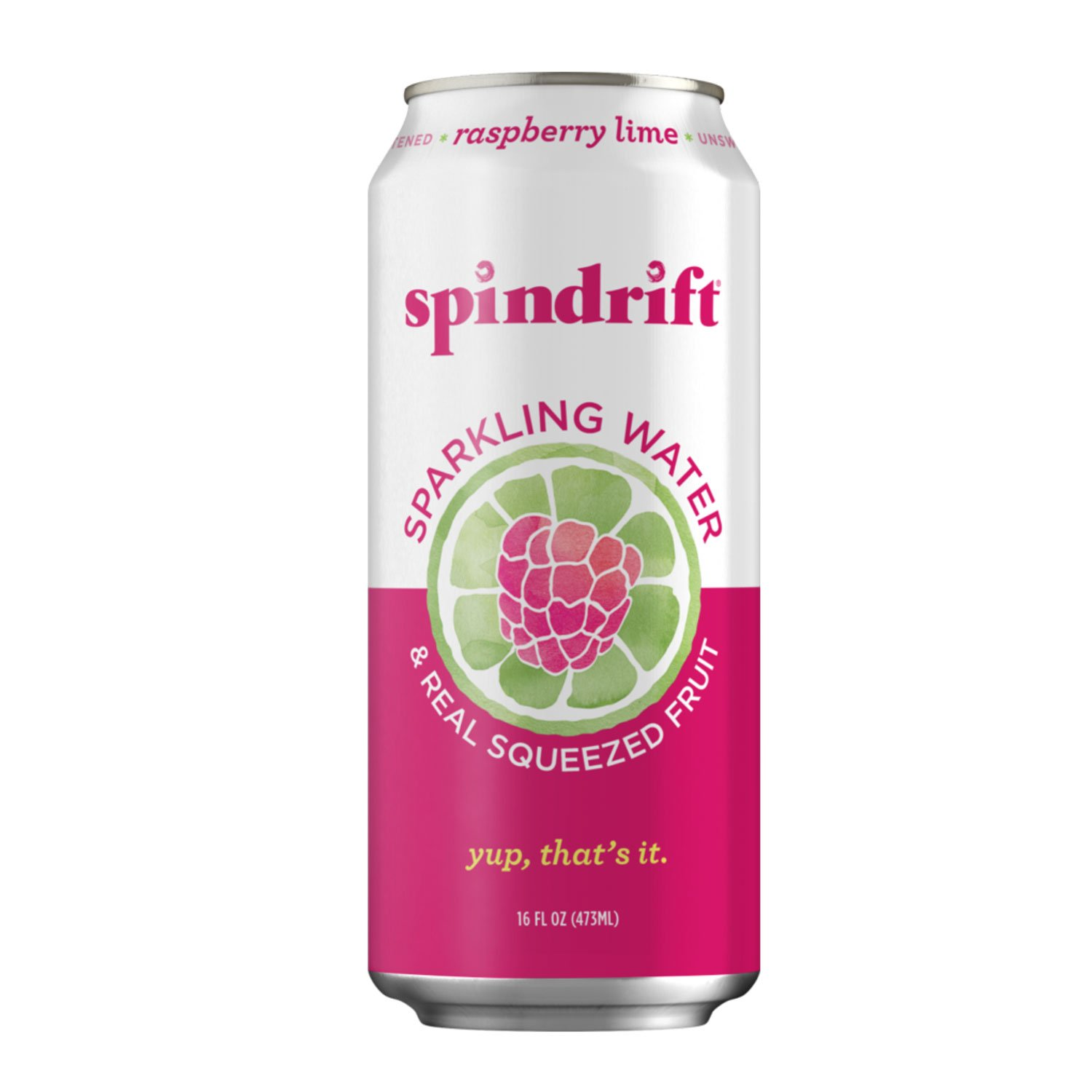 Spindrift Sparkling Water, Raspberry Lime Flavored, Made with Real Squeezed Fruit, 16 Fl Oz (Pack of 12) (Only 11 Calories per Seltzer Water Can)