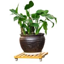 """Natural Bamboo Plant Stand, Square Plant Roller with Wheels, Movable Plant Caddy Indoor/Outdoor Plant Dolly 12""""x12"""""""