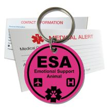 My Identity Doctor ESA Emotional Support Animal ID Tag Pre-Engraved Round Plastic