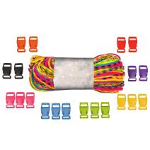 Paracord Crafting Kit – 200 or 100 Feet of Paracord with 5/8 Inch or 1/2 Inch Plastic Contoured Side Release Buckles – Craft Keychains, Necklaces, and Accessories – 4 Color Varieties Available
