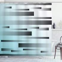 """Ambesonne Striped Shower Curtain, Abstract Symbolist Lines Featured in Modern Multi-Faceted Lines Sci Fi Artwork, Cloth Fabric Bathroom Decor Set with Hooks, 70"""" Long, Sky Blue"""