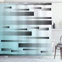 """Ambesonne Striped Shower Curtain, Abstract Symbolist Lines Featured in Modern Multi-Faceted Lines Sci Fi Artwork, Cloth Fabric Bathroom Decor Set with Hooks, 75"""" Long, Sky Blue"""
