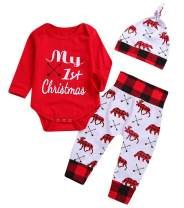 Baby Boys Girls My 1st Christmas Outfits Romper+Plaid Pants+Hat 3Pcs Clothes Set