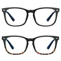 Blue Light Blocking Glasses-2Pack Computer Game Glasses Square Eyeglasses Frame, Blue Light Blocker Glasses for Women Men, Anti Eye Eyestrain Reading Gaming Glasses Non Prescription …