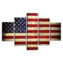 Yatsen Bridge American Flag Painting on Canvas Extra Large Patriotic Concept USA Flag Stars Stripes 5 Pieces Wall Art Artwork Print Giclee for Living Room Home Decor Stretched Framed(60''W x 40''H)