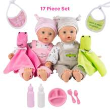 """Adora Twin Baby Dolls, Later Alligator Twins Gift Set, 11"""" Soft Baby Dolls In Vinyl, 17Piece of Doll Accessories, Perfect Gift for Toddlers, Multi Color"""