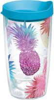 Tervis 1217684 Watercolor Pineapples Tumbler with Wrap and Turquoise Lid 16oz, Clear