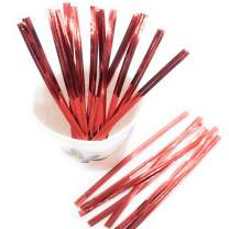 """Weststone 100pcs 4"""" RED Metallic Twist Ties foil Twist Ties for Cello Bags Treat Bags in Birthday Party Wedding Party"""