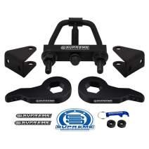 "Supreme Suspensions - Front Leveling Kit for Chevy Silverado 1500HD 2500HD 3500HD Adj. 1"" - 3"" Front Lift Steel Max-Torsion Keys + Shock Extenders Pro Kit + Torsion Bar Unloading Tool 2WD 4WD 8-Lug"