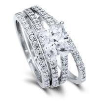 BERRICLE Rhodium Plated Sterling Silver Princess Cut Cubic Zirconia CZ Statement Solitaire Engagement Wedding Split Shank Ring Set 2.87 CTW