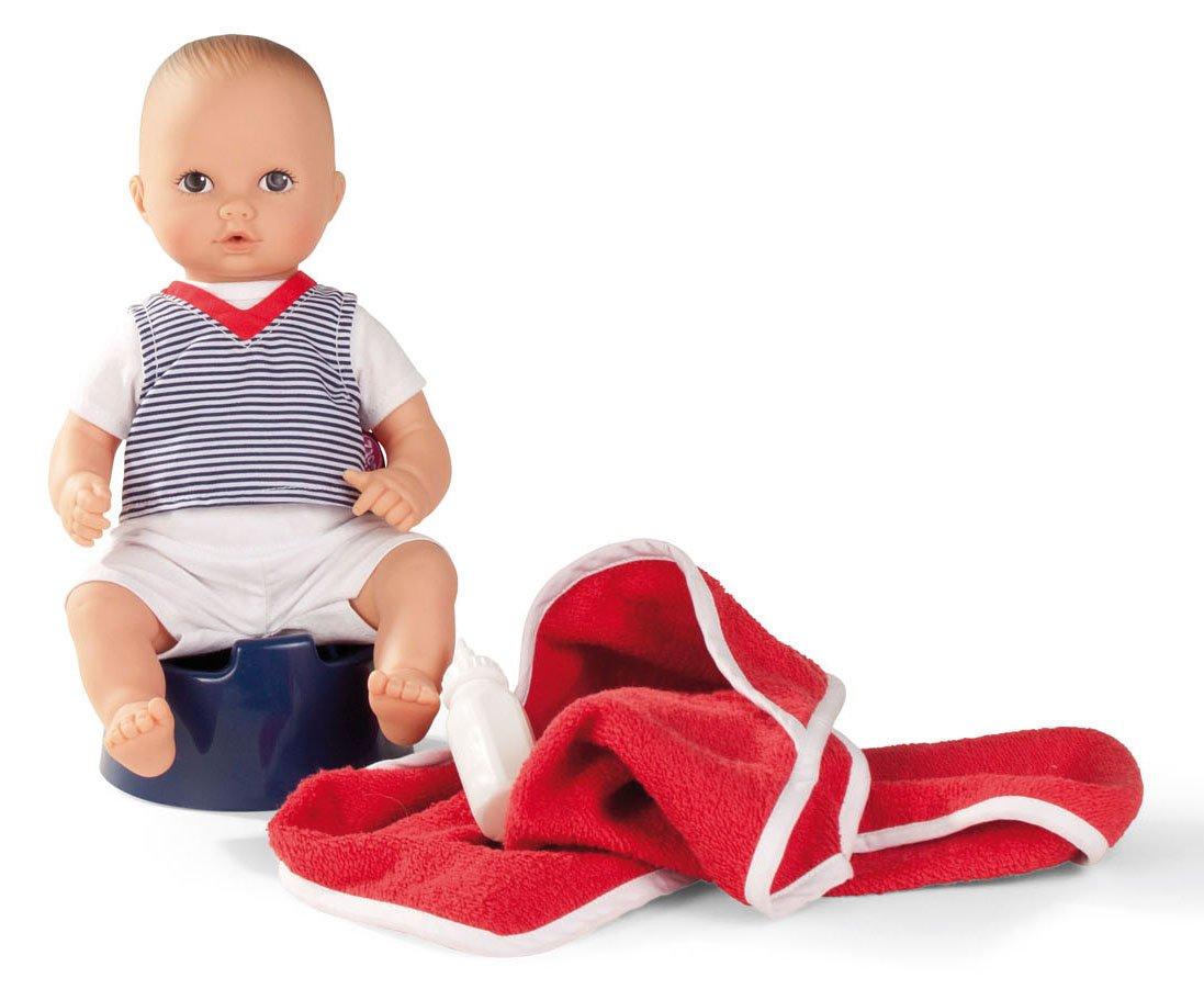 "Gotz Aquini 13"" Drink & Wet Anatomically Correct Boy Bath Baby Doll - 6 Piece Set"