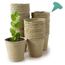 GROWNEER 60 Packs 4 Inch Peat Pots Plant Starters for Seedling with 15 Pcs Plant Labels, Biodegradable Herb Seed Starter Pots Kits, Garden Germination Nursery Pot