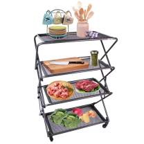 Zenree 4-Tier Folding Kitchen Shelf, Removable Mesh Trays Storage Rack Cart - Collapsible Rolling Utility Shelf Organizer with Wheels for BBQ Service, Bakery, Cafe, Patio, Bathroom, Garage
