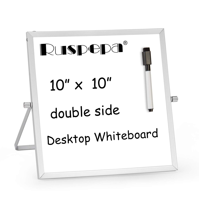 "RUSPEPA Mini Dry Erase Whiteboard - 10""x 10"" Magnetic Desktop Portable Whiteboard Easel with 1 Black Marker - 360 Degree Reversible to Do List Notepad for Desktop"
