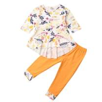Toddler Baby Girls Outfit Set Long Sleeve Floral Hi-Low Irregular Top and Leggings Pants Clothes Set