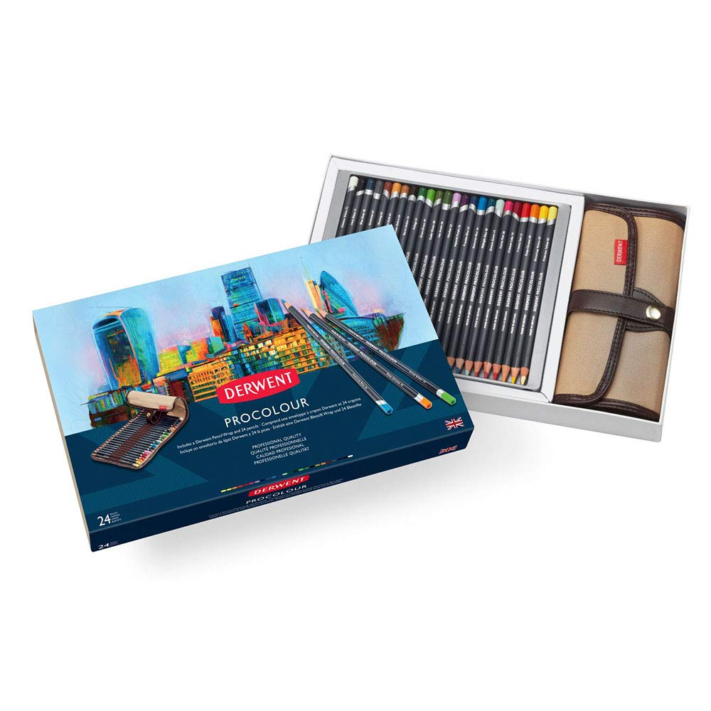 Derwent Colored Pencils, Procolour Pencils, Drawing, Art, Gift Set Pencil Wrap, 24 Count (2302583)