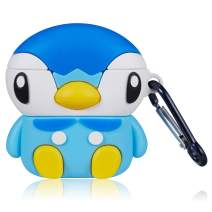 Coralogo for Airpods 1/2 Cute Case, 3D Cartoon Animal Fashion Character Silicone Airpod Skin Funny Fun Cool Elf Keychain Design Accessories Cover Air pods Cases for Kids Teens Girls Boys (Blue Duck)
