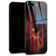iPhone 8 Case,fire Flag for iPhone 7 Cases,Men Boy iPhone SE 2020 Case, Tempered Glass Back Pattern with Soft TPU Bumper Case for Apple iPhone 7/8/SE2 Case 4.7-inch fire Flag