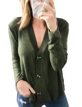Women's Causal Henley Shirts Button Down Blouse Long Sleeve V Neck Sweater Ribbed Knit Cardigan Solid Color Tops