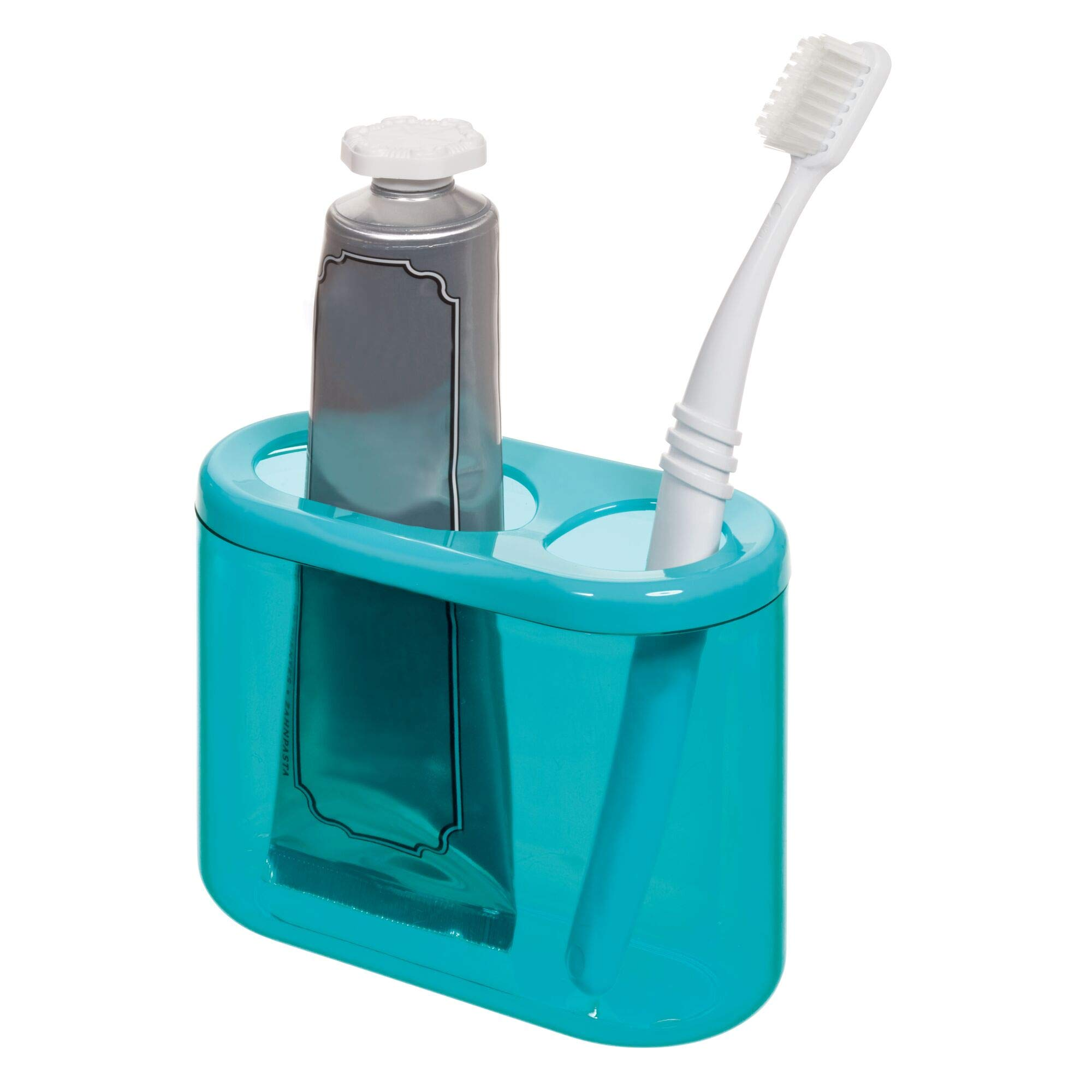 iDesign Finn Plastic Oval Holder, Holds Up to Standard and Spin Toothbrushes, Toothpaste, Make-up Brushes, Pencils, Pens and Markers, Teal and White
