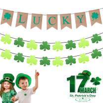 DMIGHT St.Patricks Day Decorations,2 Felt Shamrock Clover Garland+ 1 Lucky Burlap Banner,St. Patrick 's Day Banner Decor perfect for Irish party supplies- Green and Light Green Color