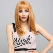 """SOKU Strawberry Blonde Synthetic Wig 20"""" Natural Straight Hair With Fringe Bangs For Women Girls Daily Use Fluffy Soft Hair Realistic Wigs"""