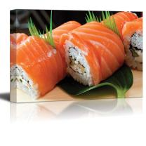 """wall26 Japanese Sushi Traditional Japanese Food roll Made of Salmon - Canvas Art Wall Decor - 16"""" x 24"""""""