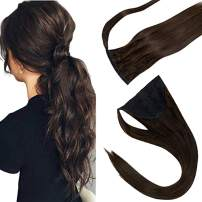 """LaaVoo Ponytail Extensions Drawstring Hair 18inch Clip in Ponytail Natural Remy Ponytail Straight Wrap Around Pony Tail Hair Solid Color Darkest Brown One Piece Clip ins Hair 80g 18"""""""