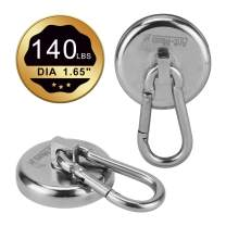 Ant Mag Magnetic Hooks 140LBS Heavy Duty Neodymium Magnet with Swiveling Carabiner Magnet Snap Hook for Indoor/Outdoor Hanging Bag Kitchen Garage Magnet Type Cruise Ship Magnetic Hook (2 Pack)