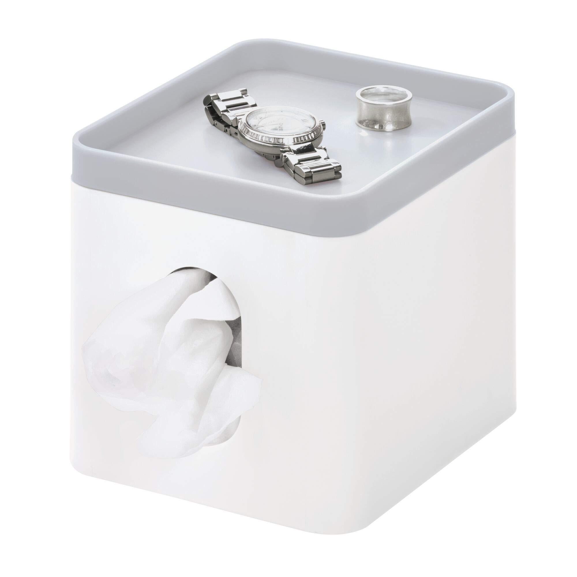 iDesign Cade Facial Tissue Cover, Boutique Box Bathroom Holder for Vanity, Countertops, Desk, Office, Dorm-Matte White/Gray