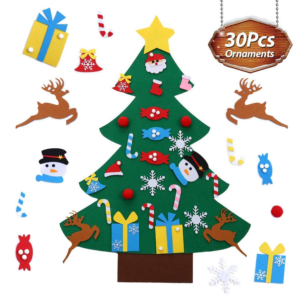 ZGWJ Felt Christmas Tree,26Pcs DIY Felt Christmas Tree Set with Ornaments Wall Hanging Xmas Gifts for Toddlers Kids Christmas New Year Home Door Decoration (Style 1)