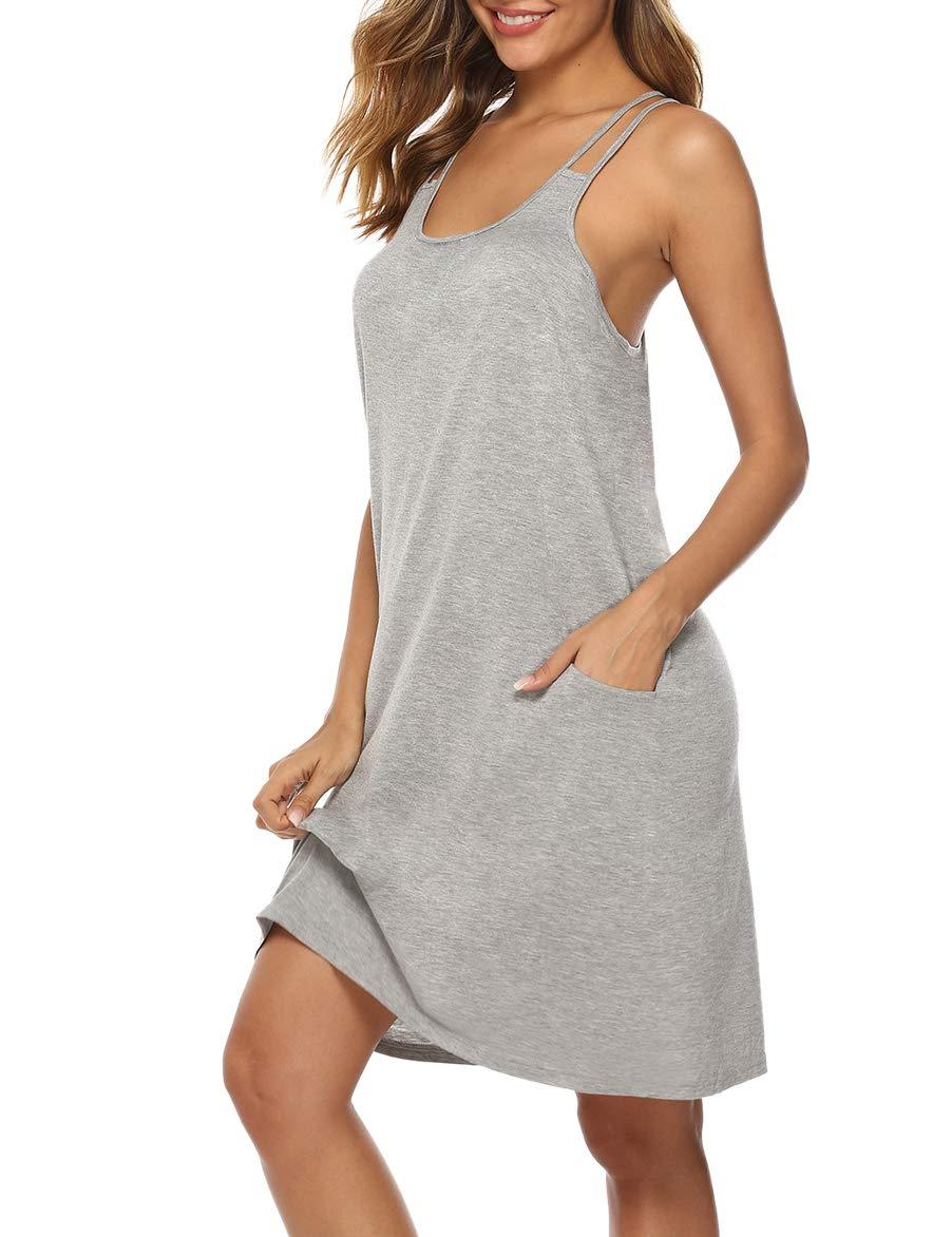 YAWOVE Women Sleeveless Nightgown Camisole Sleepwear Full Slip Dress with Pocket