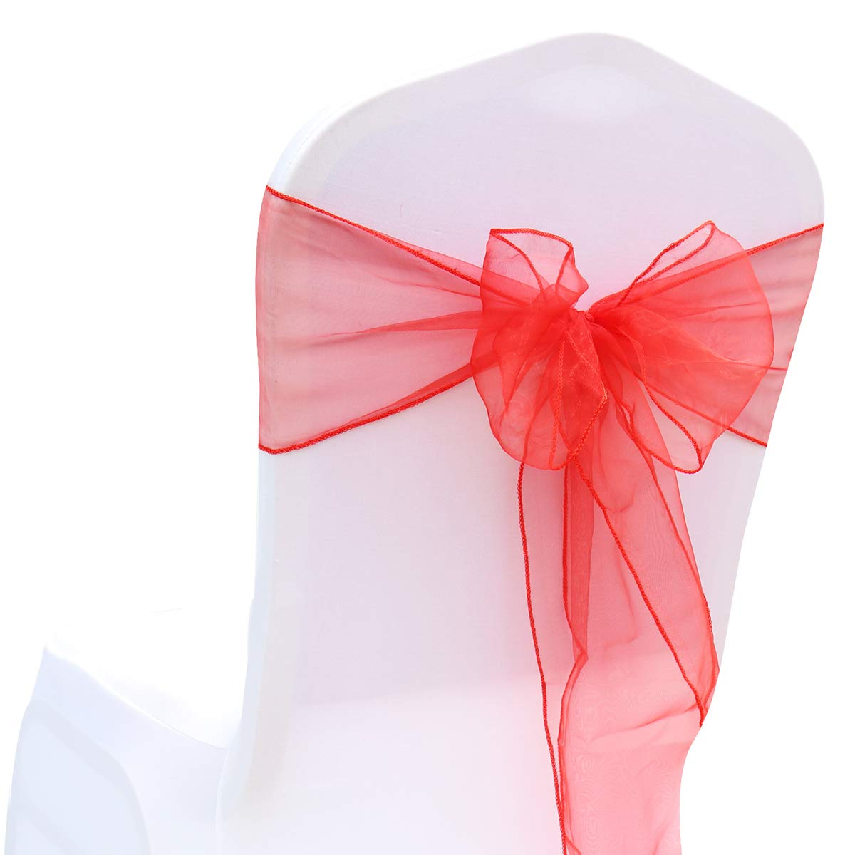 BIT.FLY 50 Pcs Organza Chair Sashes for Wedding Decoration Banquet Party Event Supplies Chair Bows Ties Chair Cover Bands - Red