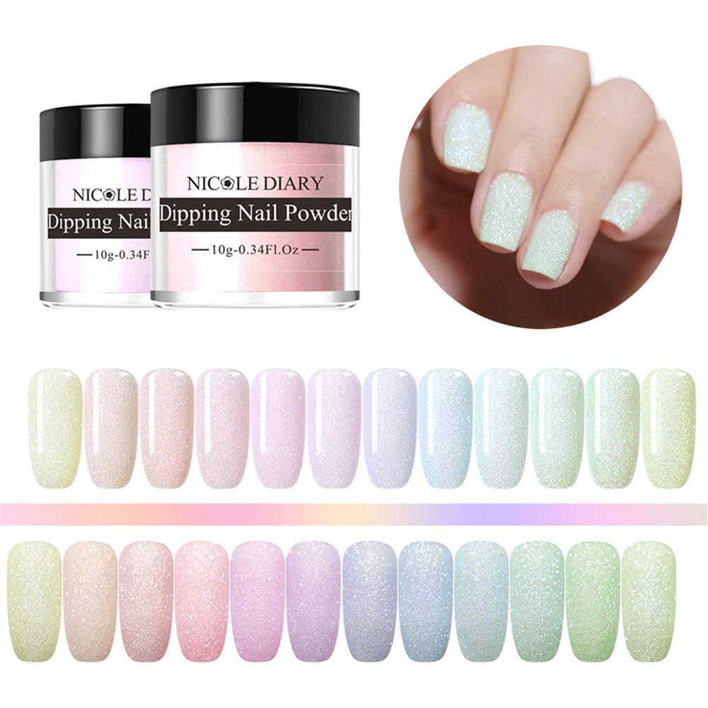 NICOLE DIARY Colorful Dip Nail Powder Kit 12 Colors Acrylic Dipping Nail Powder Matte Shining French Effect Glitter Pigment No UV/LED Nail Lamp Needed