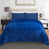 "JML Fleece Blanket, Plush Blankets Queen Size(90""x90"") - Anti-Static, Super Soft Warm, Lightweight Cozy All Season Use Flannel Bed Blanket, Navy"