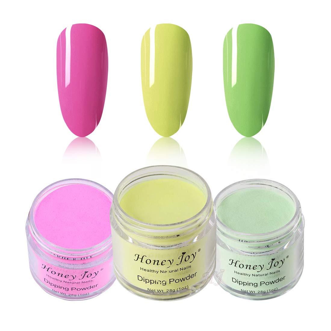 3pcs 28g/Box Fine Dipping Powder No Need Lamp Cure Dip Powder Nails,Colorful Dark Pink,Shine Yellow,Light Green,Like Gel Polish Effect, Even & Smooth Finishing(34-42-39)