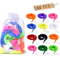 huianer 60 Pcs Magic Worm Toys Wiggly Twisty Fuzzy Carnival Party Favors(Random Color)