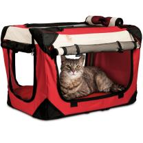 "PetLuv ""Happy Cat Premium Cat Carrier Soft Sided Foldable Top & Side Loading Pet Crate & Carrier Locking Zippers Shoulder Straps Seat Belt Lock Plush Pillow Reduces Anxiety"