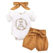 Newborn Baby Girl Clothes Short Sleeve Summer Outfits Ruffle Romper Onesies+Floral Pants+Headbands Infant Playwear Set