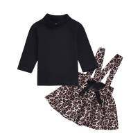 Baby Girls Skirt Set Toddler Ruffle Long Sleeve T-Shirt Top+Leopard Strap Skirt 2Pcs Outfits
