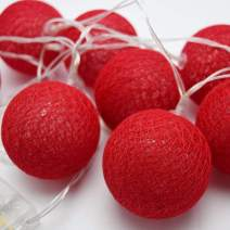 PaperLanternStore.com 10 LED Red Round Texture Cotton Ball Woven Spun String String Light, 5.5 FT, Battery Operated w/Timer