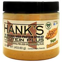 Hank's Protein Plus Vegan High Protein Peanut Butter Spread, Butterscotch, 1 lb - Healthy Vegan Snack Food